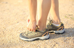 Runner lace up shoes Stock Photo
