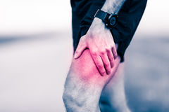 Runner leg pain during training. Runners leg pain, man holding sore and overtrained painful leg muscle, sprain or cramp ache filled with red pink bright place Royalty Free Stock Photo