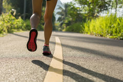 Runner legs running on morning tropical forest trail Stock Photos