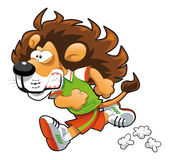 Runner Lion. Funny cartoon and  sport character Stock Image