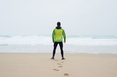 Runner man on the beach Royalty Free Stock Photography