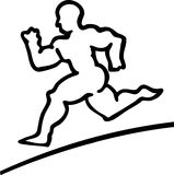 Runner Man Black and White Athlete Royalty Free Stock Photo