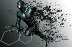 Runner. Man running disintegration of black particles Stock Photos