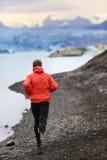 Runner man trail running training for run Stock Image