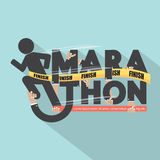 Runner With Marathon Typography Design. Royalty Free Stock Images