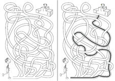 Runner maze. For kids with a solution in black and white royalty free illustration