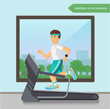 Runner men running on the treadmill in fitness sport center. Royalty Free Stock Image