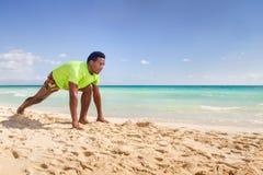 Runner men in start position. Men runner in start position at the beach Royalty Free Stock Photo