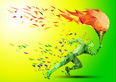 Runner with olympic flame. In the geometric style triangle stock illustration