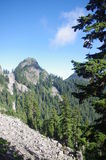 Runner Peak. Hiking trail towards Mount Elsay of the North Shore Mountains stock image