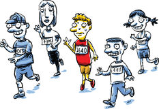 Runner Pee. A cartoon man in a running race suddenly needs to pee Royalty Free Stock Photography