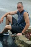 Runner in the rain Royalty Free Stock Photos