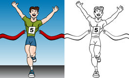 Runner Reaches Finish Line Set. Cartoon of a man reaching the finish line in a running event Royalty Free Stock Image