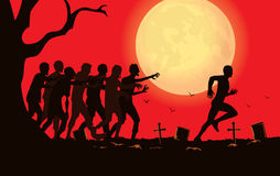 Runner run away from zombie group in the graveyard. Royalty Free Stock Photography