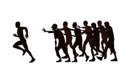 Runner run away from zombie group. Silhouette vector runner run away from zombie group isolated on white background stock illustration