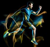 Runner running jogger jogging man isolated light painting black background. One caucasian runner running jogger jogging man light painting speed effect  isolated stock photo