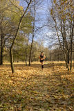 Runner is running in the park in autumn Royalty Free Stock Photos