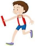 Runner running relay on white Stock Images