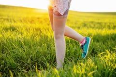 Runner - running shoes closeup of teen girl barefoot Stock Images