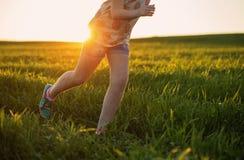 Runner - running shoes closeup of teen girl barefoot Royalty Free Stock Photos