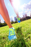 Runner - running shoes on woman athlete Stock Photos