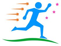 Runner and running winner logo.running man clip art Stock Photo