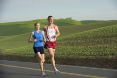 Runner on Rural Road Stock Photo