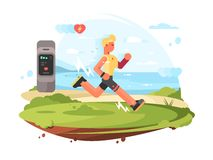 Runner scamper runs at coast. To heart rate monitor. Vector illustration vector illustration