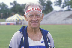A runner at the Senior Olympics, Stock Images
