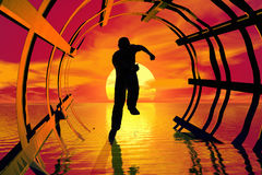 Runner silhouette. Runner runs in a abstract tunnel. Red sunset and water in the background vector illustration