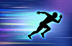 Runner silhouette with effect glow blue on background blue Royalty Free Stock Photos