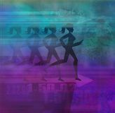 Runner silhouette girl on the abstract background Royalty Free Stock Image