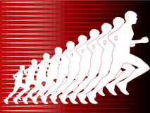 Runner in silhouette on red background. With lines for speed vector illustration