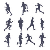 Runner silhouette set. Illustration of male runner silhouette set isolated on white background vector illustration