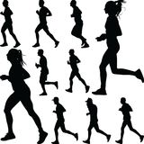 Runner silhouette vector royalty free stock photography