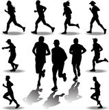 Runner silhouette vector. Man and women as a runner silhouette vector stock illustration