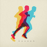 Runner sport man silhouette concept design. Runner concept illustration of man athlete silhouette running a race. Colorful modern design on texture background Royalty Free Stock Images