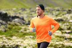 Runner - sport running man in trail run Royalty Free Stock Photography