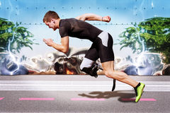 Runner sprint metal background royalty free stock images