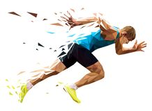Runner sprinter explosive start. In running. polygonal particles Royalty Free Stock Photos
