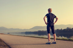 Runner on the start of distation Stock Photography