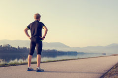 Runner on the start of distation Stock Photo