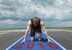 Runner start position runway Stock Image