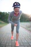 Runner start running on running track closeup Royalty Free Stock Image