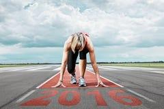 Runner start runway 2016 Stock Images