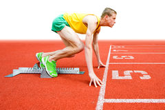 Runner at Starting Block Stock Images