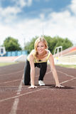 Runner in starting line ready for running Royalty Free Stock Images