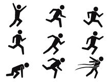 Runner stick figure icons set Stock Photos