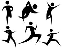 Runner Stick Figure Set stock photos