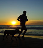 Runner at sunset, La Jolla Shore Stock Photos